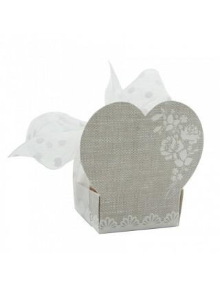 Boite à dragées romantique cœur en carton (x100)