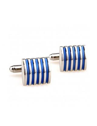 Boutons de manchette carré rayures bleues