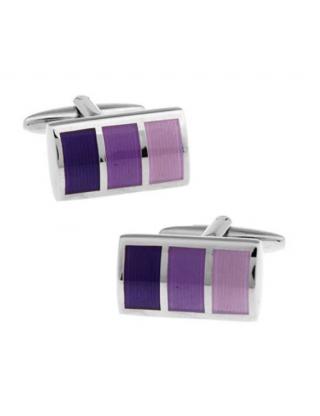 Boutons de manchette rectangle dégradé bleu/violet/rose