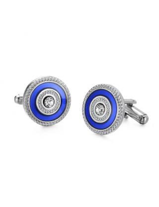 Boutons de manchette cercle argenté cristal bleu