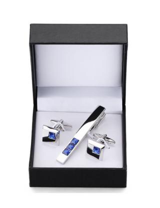 Coffret boutons de manchette et pince à cravate argenté cristaux bleus