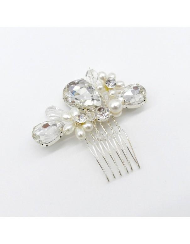 Peigne perles et pierres façon crystal