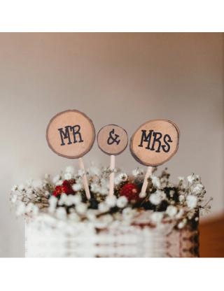 Haut de gâteau rondin de bois Mr et Mrs