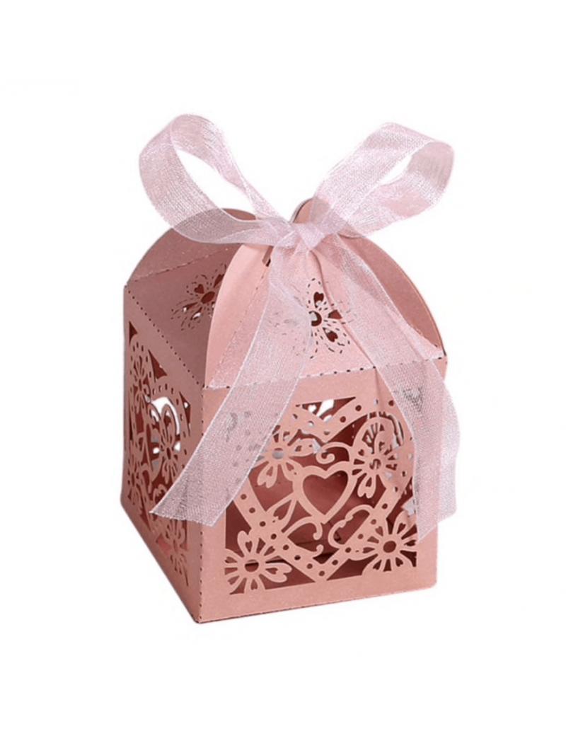 Cage en carton cœur rose nacré (x25)