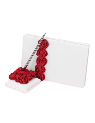 Livre d'or et porte stylo roses rouges