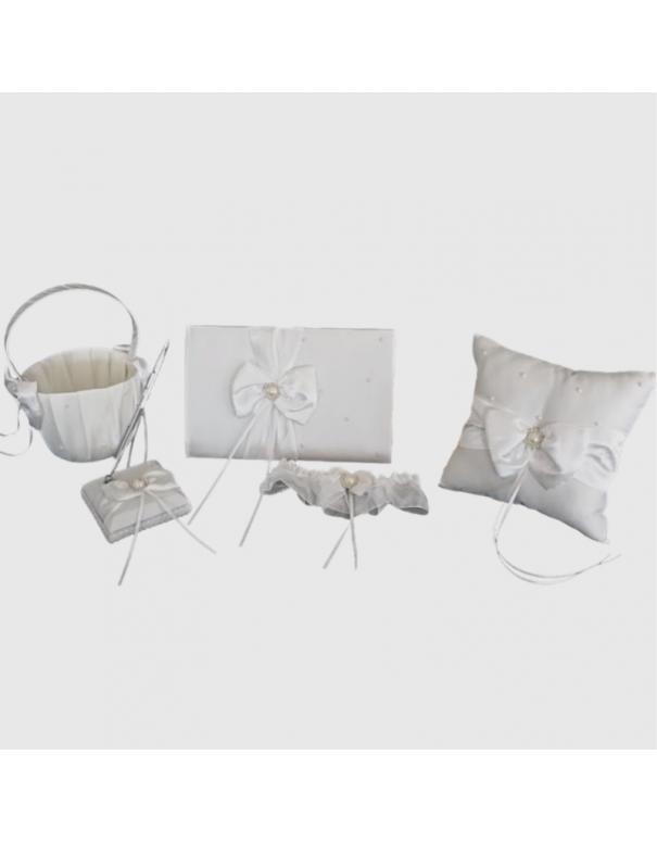 Set de mariage blanc en satin nœud et perles nacrées