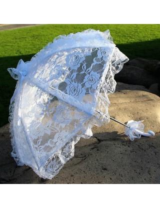Ombrelle romantique en dentelle de roses blanche