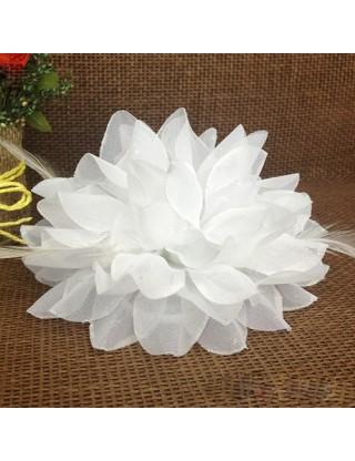 Elastique pour cheveux fleur et plumes