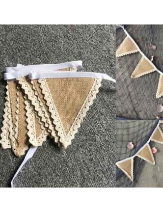 Banderole de fanions bohème-chic en jute et dentelle de crochet