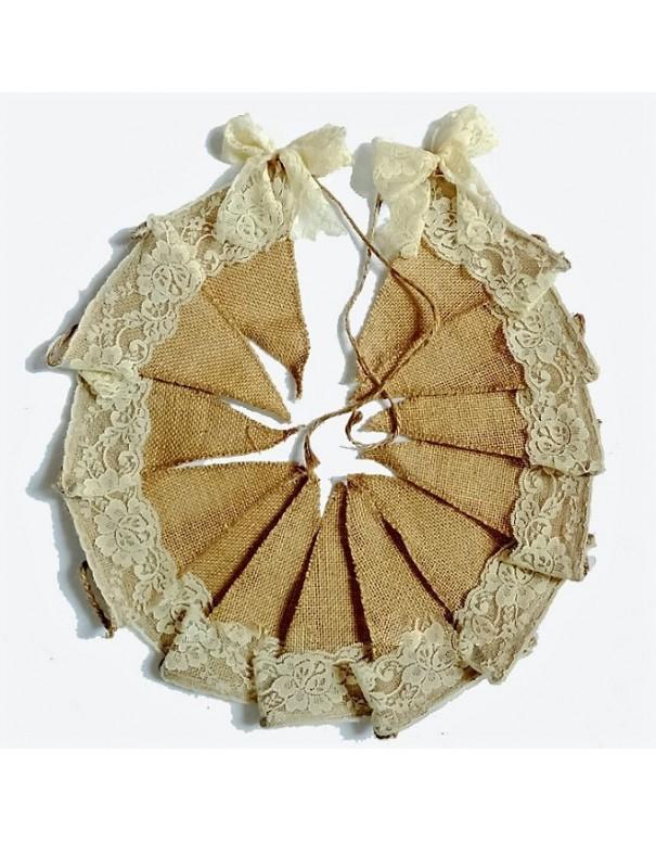 Banderole de fanions en jute & dentelle ivoire